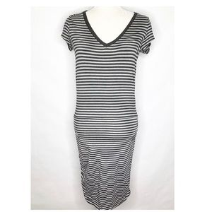 Athleta   Gray Striped Fitted Shirt Dress